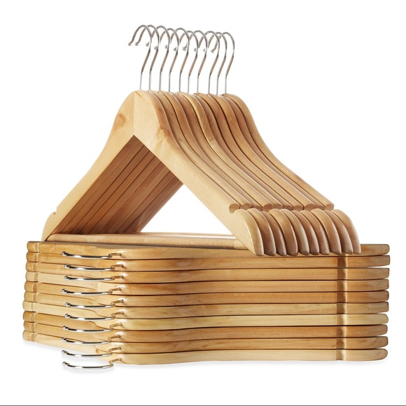 Wooden Hangers with Natural Finish (Set of 10)